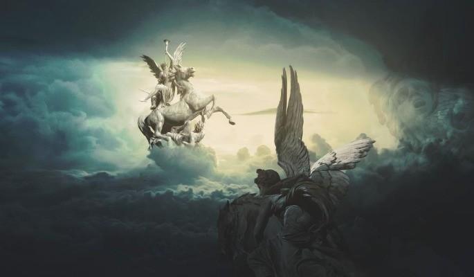 cavaleiros sobre as nuvens do céu Apocalipse