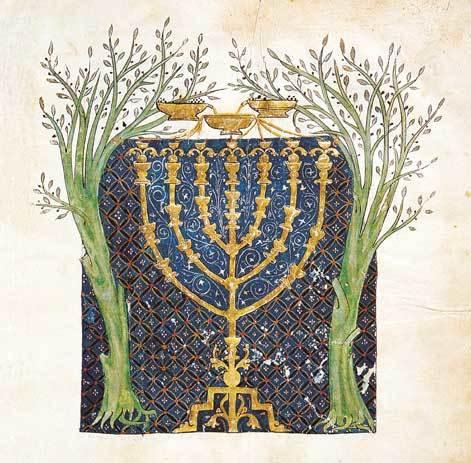 Bíblia de Cervera. Representação de um Menorah num códice hebraico do século XIII.