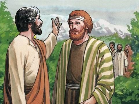 imagem de Pedro conversando com Jesus, em segundo plano outros discípulos