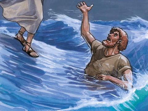 Imagem ilustração de Pedro andando sobre as águas, afundando, salvo por Jesus