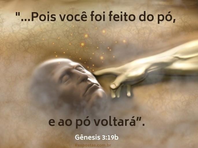 Imagem fundo homem sendo criado do pó, pela mão de Deus - Gênesis 3:19b